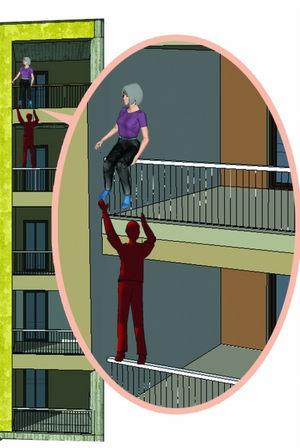 """单手托举半小时 55岁保安4楼""""走钢丝""""救人"""
